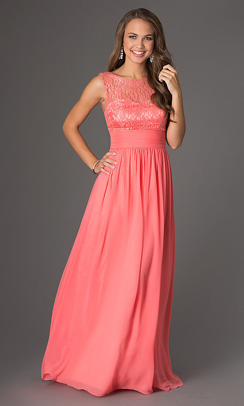 Image of Sleeveless Floor Length Lace Embellished Dress DQ-8769 Style: DQ-8769 Front Image