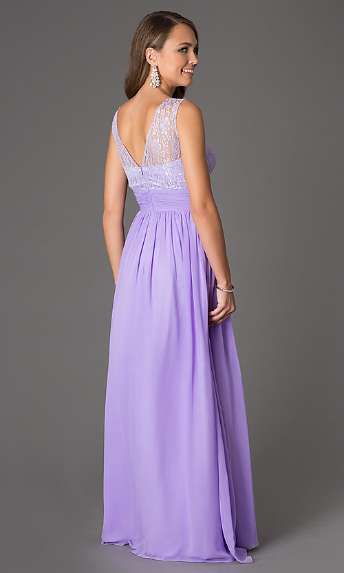 Image of Sleeveless Floor Length Lace Embellished Dress DQ-8769 Style: DQ-8769 Back Image