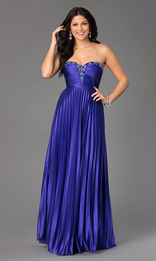 Image of Strapless Sweetheart Pleated Floor Length Dress  Style: MY-2288SK1S Front Image