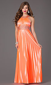 Image of pleated neon-coral floor-length gown Style: MY-6640SK1S Front Image
