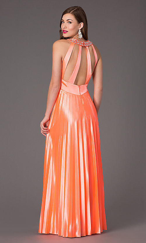 Image of pleated neon-coral floor-length gown Style: MY-6640SK1S Back Image