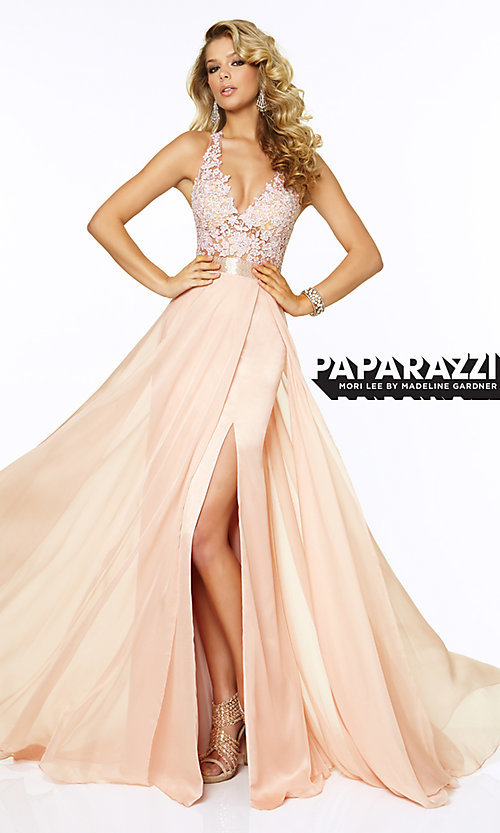 Image of Long V-Neck Lace Prom Dress by Mori Lee 97018 Style: ML-97018 Front Image