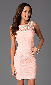 Image of Short Sleeveless Scoop Neck Lace Dress with v-back. Style: DQ-8767 Front Image