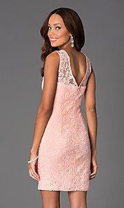 Image of Short Sleeveless Scoop Neck Lace Dress with v-back. Style: DQ-8767 Back Image