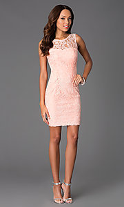 Image of Short Sleeveless Scoop Neck Lace Dress with v-back. Style: DQ-8767 Detail Image 1