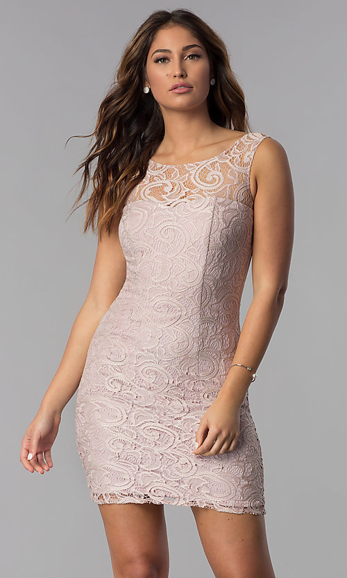 Image of Short Sleeveless Scoop Neck Lace Dress with v-back. Style: DQ-8767 Detail Image 3