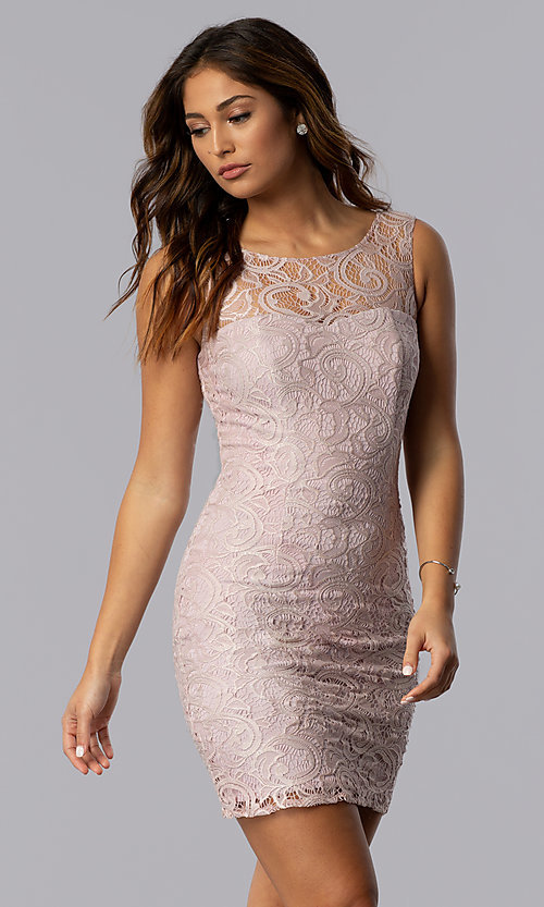 Image of Short Sleeveless Scoop Neck Lace Dress with v-back. Style: DQ-8767 Detail Image 2
