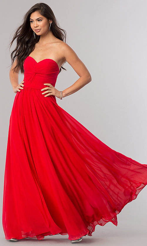 Ruched Strapless Corset Chiffon Long Gown