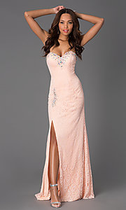 Image of long lace sweetheart prom dress with back corset. Style: DQ-8771 Detail Image 1