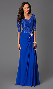 Image of Long V-Neck Formal Lace Dress with 3/4 Sleeves Style: DQ-8823 Detail Image 1