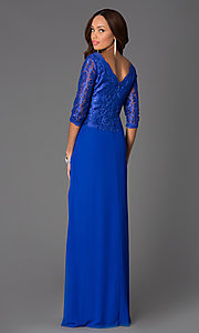 Image of Long V-Neck Formal Lace Dress with 3/4 Sleeves Style: DQ-8823 Back Image