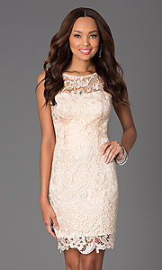 Image of Sleeveless Lace Knee Length Cocktail Dress Style: DQ-8842 Detail Image 3