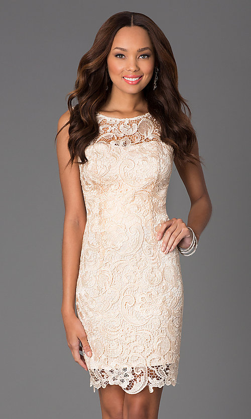 Image of Sleeveless Lace Knee Length Cocktail Dress Style: DQ-8842 Detail Image 1