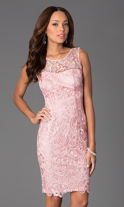 Image of Sleeveless Lace Knee Length Cocktail Dress Style: DQ-8842 Front Image