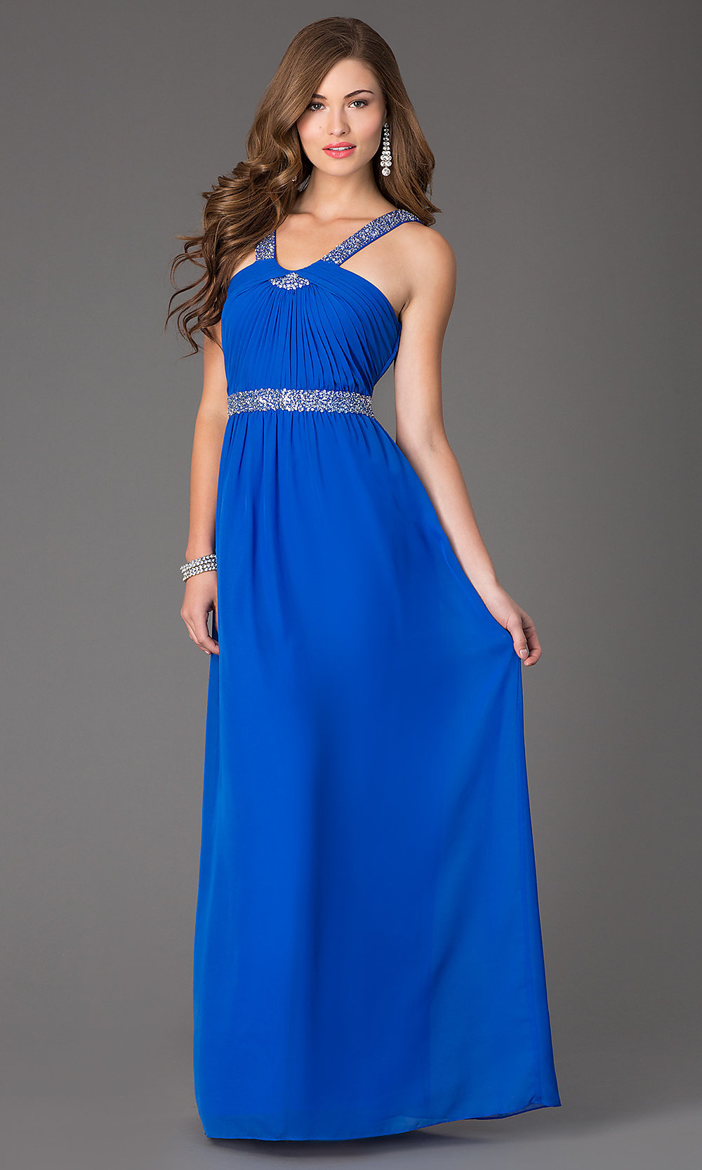 Electric Blue Sleeveless Long Ball Gown
