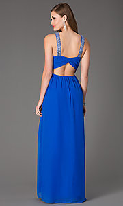 Image of electric-blue sleeveless long ball gown Style: HL-211s66190 Back Image