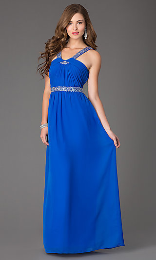 Electric-Blue Sleeveless Long Ball Gown
