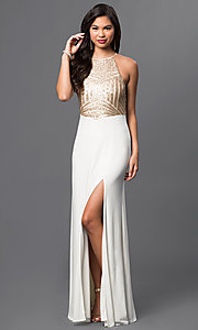 Image of Sleeveless Floor Length Dress with Sequins Embellished Bodice Style: MQ-8020157 Front Image