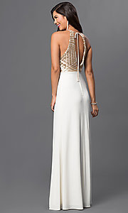 Image of Sleeveless Floor Length Dress with Sequins Embellished Bodice Style: MQ-8020157 Back Image