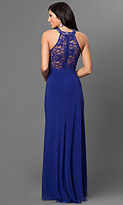 Image of sleeveless floor-length Morgan lace gown Style: MO-12028 Back Image