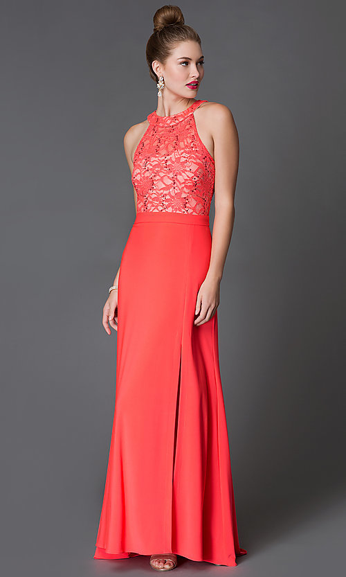 Image of sleeveless floor-length Morgan lace gown Style: MO-12028 Front Image