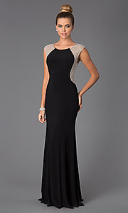 Image of Black Floor Length Dress with Sheer Back Style: X-XS5844 Front Image
