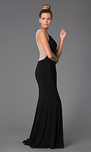Image of Black Floor Length Dress with Sheer Back Style: X-XS5844 Detail Image 1