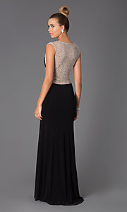 Image of Black Floor Length Dress with Sheer Back Style: X-XS5844 Back Image