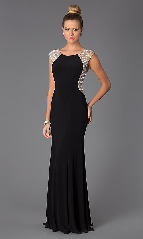 Xscape Black Formal Dress with Sheer Silver