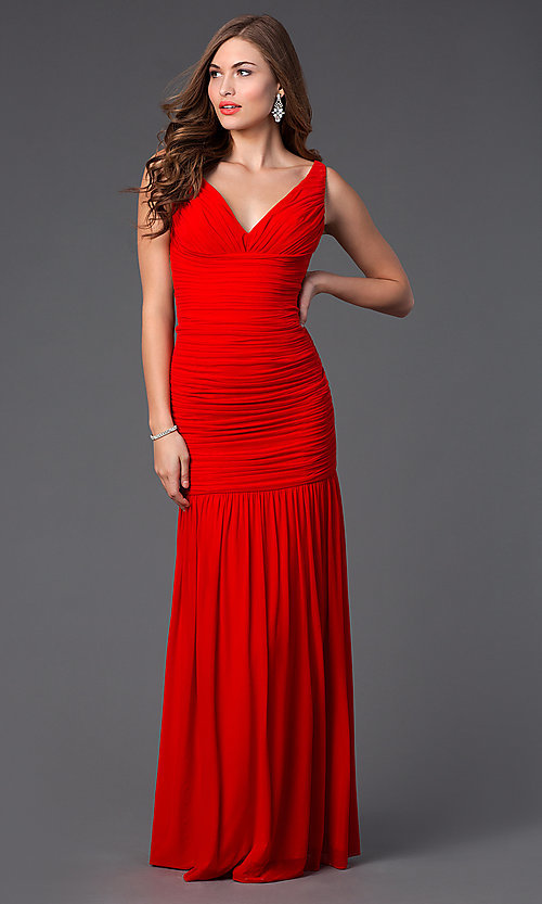 Image of Floor Length V-Neck Dress by Hailey Logan 211s62730 Style: HL-211s62730 Front Image