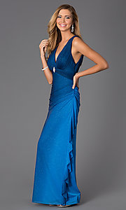 Image of sleeveless V-neck navy-blue glitter-print prom dress Style: BN-55119 Detail Image 1
