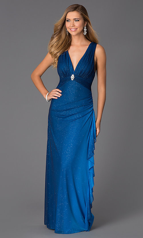 Image of sleeveless V-neck navy-blue glitter-print prom dress Style: BN-55119 Front Image