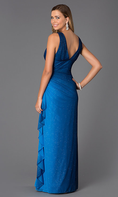Image of sleeveless V-neck navy-blue glitter-print prom dress Style: BN-55119 Back Image