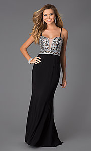 Image of silver-sequin black-chiffon long formal prom dress. Style: BN-55008 Front Image