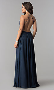 Image of Blush Lace Open Back Halter Dress Style: BL-PG006 Back Image