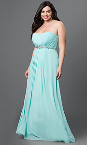 Image of long strapless corset-back empire-waist gown. Style: DQ-8747 Front Image