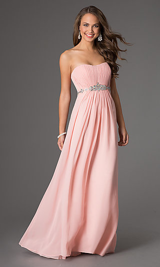 Long Strapless Corset-Back Empire-Waist Gown