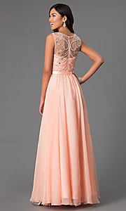 Image of Long Beaded Sheer Panel Chiffon Prom Dress Style: DQ-8736 Back Image