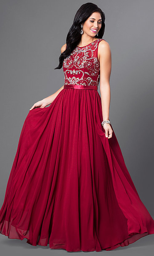 Image of Long Beaded Sheer Panel Chiffon Prom Dress Style: DQ-8736 Detail Image 2