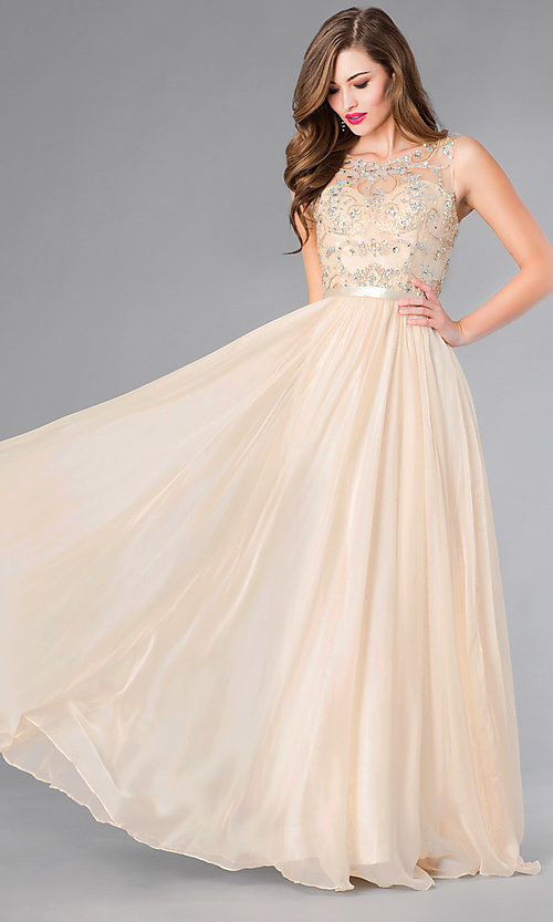 Image of Long Beaded Sheer Panel Chiffon Prom Dress Style: DQ-8736 Front Image