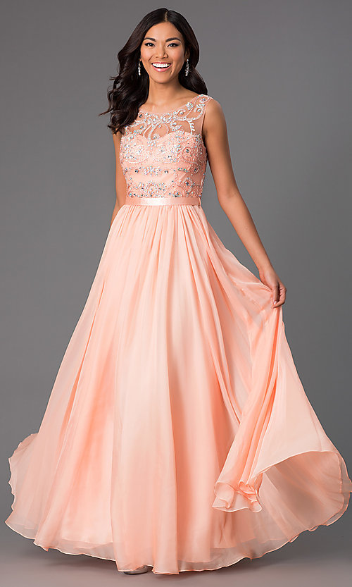Image of Long Beaded Sheer Panel Chiffon Prom Dress Style: DQ-8736 Detail Image 1