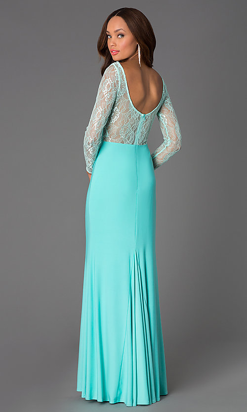 Image of floor-length prom dress with sleeved lace bodice. Style: DQ-8720 Back Image