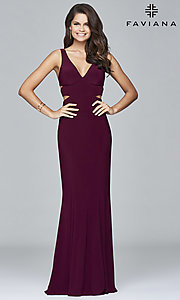 Image of Faviana long v-neck cut-out formal gown. Style: FA-7541 Detail Image 2