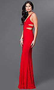 Image of Faviana long v-neck cut-out formal gown. Style: FA-7541 Detail Image 3