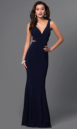 Faviana Long V-Neck Cut-Out Formal Gown