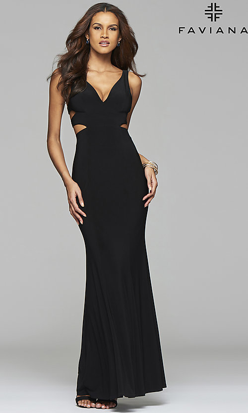 Image of Faviana long v-neck cut-out formal gown. Style: FA-7541 Detail Image 1