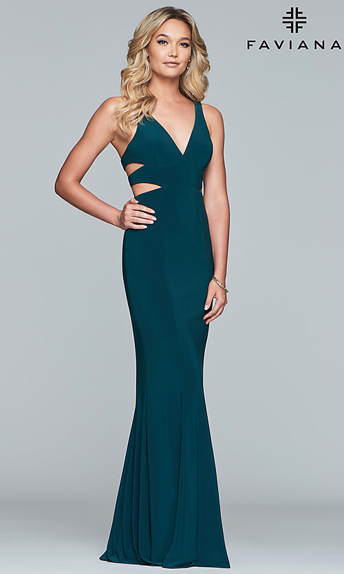 Image of Faviana long v-neck cut-out formal gown. Style: FA-7541 Detail Image 4