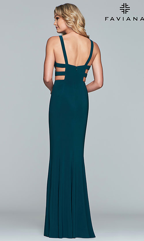 Image of Faviana long v-neck cut-out formal gown. Style: FA-7541 Detail Image 5