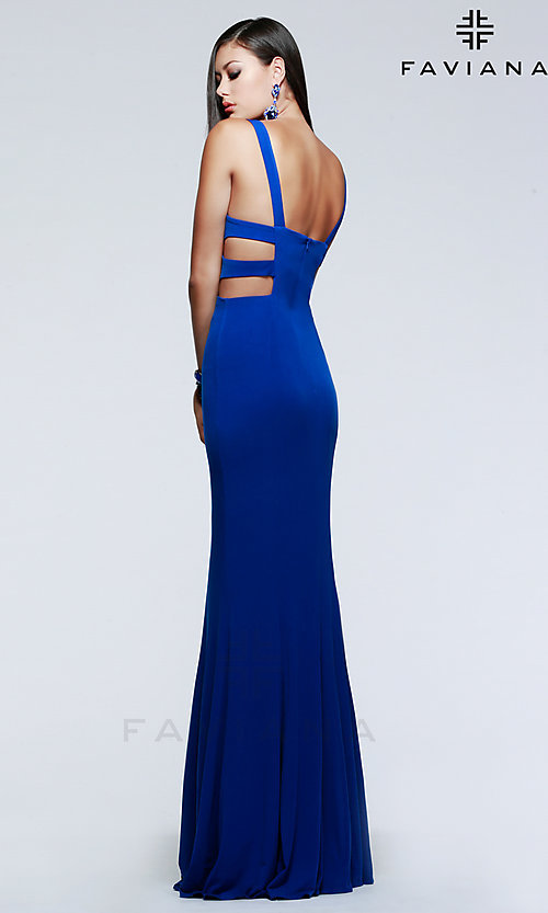 Image of Faviana long v-neck cut-out formal gown. Style: FA-7541 Back Image