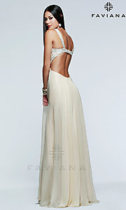Image of Floor Length Sequined Open Back Dress Style: FA-7595 Back Image
